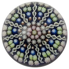 Perthshire Millefiori Flowers And Cane Paperweight
