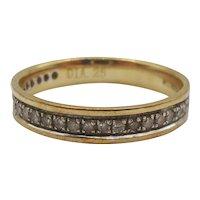 9ct Yellow Gold Diamond Band Ring UK Size O+ US 7 ¼