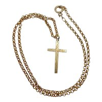 9ct Yellow Gold Cross Pendant Necklace 18 Inches