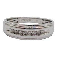 9ct White Gold .10CTW Diamond Band Ring UK Size R US 8 ¾
