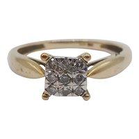 9ct Yellow Gold Diamond Ring UK Size M US 6