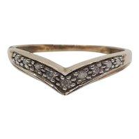 9ct Yellow Gold Diamond Wishbone Ring UK Size N+ US 6 ¾