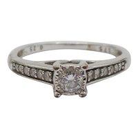 9ct White Gold Diamond Ring UK Size M+ US 6 ¼