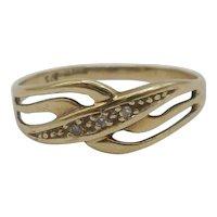 9ct Yellow Gold Diamond Ring UK Size L US 5 ½