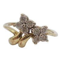 9ct Yellow Gold .05CTW Diamond Flower Ring UK Size L US 5 ½