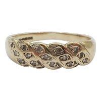 9ct Yellow Gold Diamond Ring UK Size M+ US 6 ¼