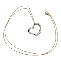 9ct Yellow Gold Cubic Zirconia Love-Heart Pendant Necklace 18 Inches
