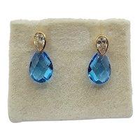 9ct Yellow Gold Blue & White Glass Teardrop Earrings