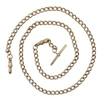 9ct Rose Gold Pocket Watch Single Albert Chain London 1898 - 21 Inches