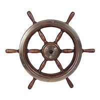 Vintage Yacht Small Ships Wheel With Bronze Rim