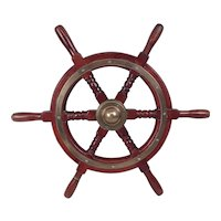 Vintage Yacht Small Ships Wheel With Bronze Fittings