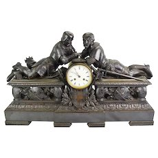 A Large And Impressive 19th Century Bronze Mantle Clock By J B Marchand Paris