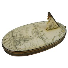 Early 18th Century Scrimshaw Sundial Attributed To Thomas Tuttell