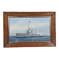 1911 Dated Watercolour Of HMS Dreadnought Battleship By MacKenzie Thompson