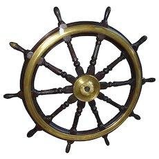 Large Victorian Bronze Bound Ships Wheel
