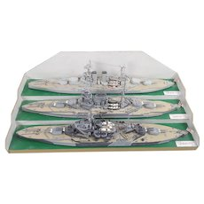 Scratch Built Mounted Model Of 3 Phases Of The Battleship HMS Warspite