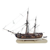 Scratch Built One Off Model Of A Circa 1800 Bomb Ketch With A Trailing Boat