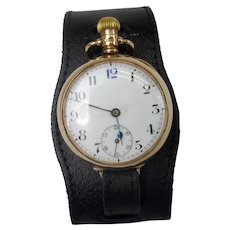 9ct Gold Pocket Watch Converted To Wristwatch c1915