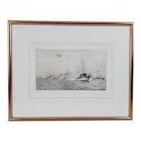 William L. Wyllie Signed Etching - Escorting A Convoy Up The Channel