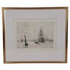 William L. Wyllie Signed Etching – HMS Victory in Portsmouth Harbour