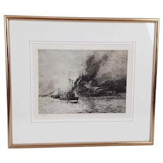 William L. Wyllie Signed Etching – Battleship With Corvettes
