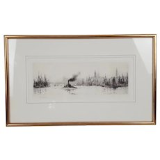 William L. Wyllie Signed Etching –  Shipping On The Thames