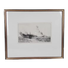William L. Wyllie Signed Etching of Destroyers at Sea