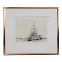 William L. Wyllie Signed Etching of a WW1 Dreadnought