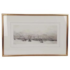 William L. Wyllie Signed Etching of A Dockyard Scene