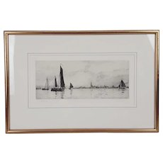 William L. Wyllie Signed Etching of Sailing Boats In Portsmouth Harbour