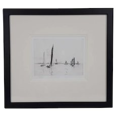 William L. Wyllie Signed Etching of Sailing Boats Off The Coast