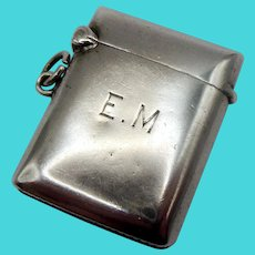 Small Sterling Silver Vesta Case Initialled E.M. c1904