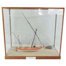 Cased Model Of A Portuguese Felucca In 1/50th Scale