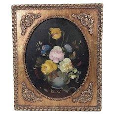 Framed R Rosini Italian Artist Oil Painting Of Flowers