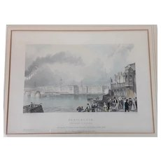 Early 19th Century Print Of Portsmouth Royal Dockyard By D. E. Gilmour