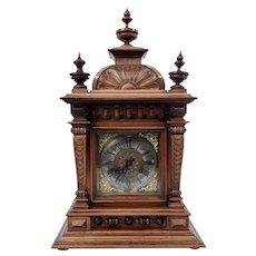 Late Victorian German Badische Uhrenfabrik Oak Bracket Clock