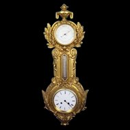 Victorian Gilt Cast Iron 8 Day Striking Wall Clock/Barometer/Thermotemeter