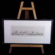"""William L. Wyllie (1851-1931) - Etching- """"The Mine Swept Channel""""- Signed"""