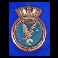 HMS Osprey Wood Mounted Metal Ships Plaque, Gipsy Class Destroyer