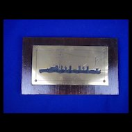 Vintage Wood Mounted Brass Fretted Silhouette of HMS Rockingham