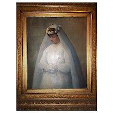 Carl John Blenner 'First Communion' Oil Portrait 1890