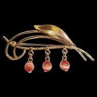 14 Carat Gold Leaf Brooch/Pin c.1960's, 6.1g