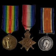 WW1 1914/15 Medal Trio Awarded to PTE.F.H White Somerset Light Infantry