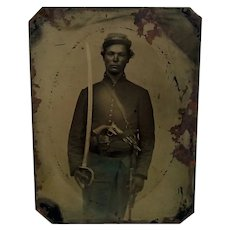 c1860-64 Photographic Plate Of U.S. Union Cavalry Man