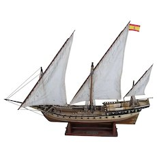 Well Finished Model of 18th Century Cazador Xebec Ship, 1:60 Scale