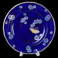Late 19th Century Art Noveau Charles Ford Cobalt Blue Flower Pattern Plate