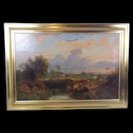 George Shalders (1826-1873) Oil On Canvas Of 'Cattle Watering At Eventide', 1855