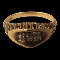 9ct Gold 3 Diamond (0.02ct) Bark Effect Ring Size O UK 7 3/4 US