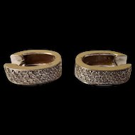 Arabic 18Ct White Gold &  Diamond Hinged Hoop Earrings Insurance Valuation £1700