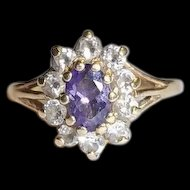 9Ct Gold 0.50 Ct Amethyst & 0.50 CTW CZ's Flower Shape Ring, Size N (US 6 3/4)